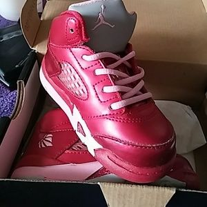 Toddlers Metallic Red/Pink Nike Jordan Sneakers
